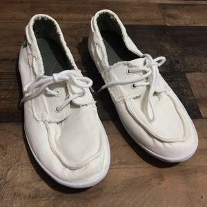 Sanuk Women's White Slip On Lace Up Shoes